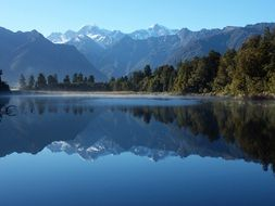 Mirror Lake panorama in New Zealand