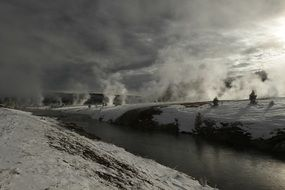 winter landscape of yellowstone national park