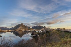 panorama of the valley in the Lofoten Islands