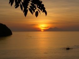 idyll golden sky and sea at sunset, Indonesia