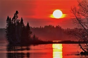 Orange Red sunset sun landscape sky nature