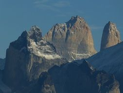 mountains in torres del paine national park