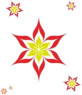 Yellow flowers with the red petals clipart