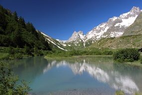 Mont Blanc peak and mountain lake
