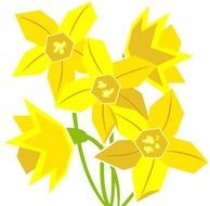 clip art of yellow daffodils