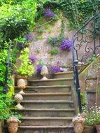 vintage Staircase with purple Flowers on walls