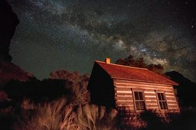 Fruita Schoolhouse at night under starry sky, usa, Utah