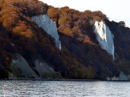 white cliffs on the shore of the island of Rugen in the Baltic Sea