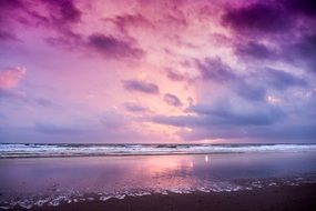 purple evening sky above calm sea, spain, Chiclana de la Frontera