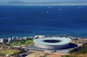 distant view of Cape Town Stadium at sea, south africa