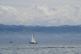 panorama of boats on lake constance