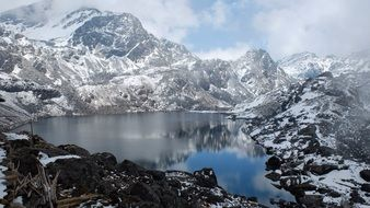 Nepal Mountains Bergsee