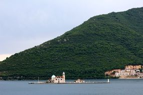small island off the rocky coast of Montenegro