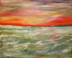 Oil painting of the seascape in summer