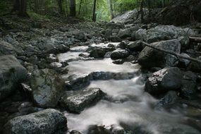 a stream flows over stones