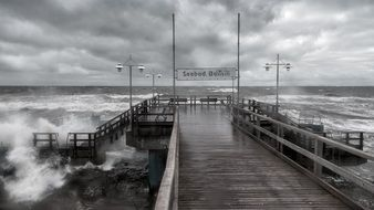 pier in the storm in Bansin
