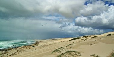 sandy beach in south africa under a cloudy sky