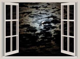 cloudy Night sky with full Moon through open window, illustration