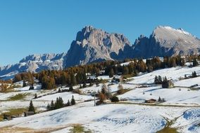 scenic view of Sassolungo mountain at winter, italy, south tyrol