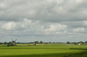 distant view of a windmill in a green field