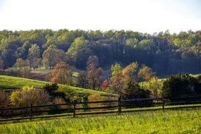 wooden fence on a green field in virginia