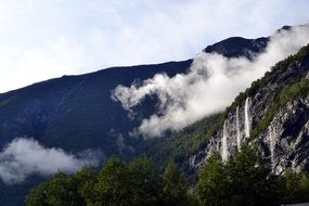 Waterfall and haze mountain Landscape
