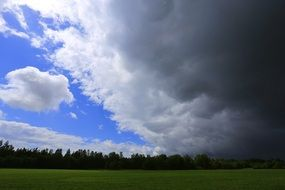storm clouds over a green field in the Leningrad region