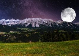 surreal landscape in the full moon