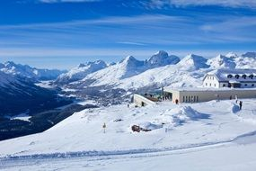 magnificent Engadin Lakes with the snow
