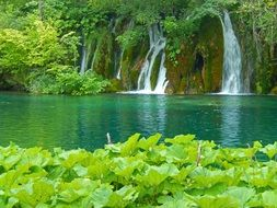 waterfalls on Plitvice Lakes in the national park of croatia