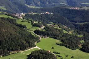 panorama of a village in the tyrol mountains in italy