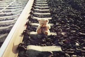 Picture of Teddy bear on a railway