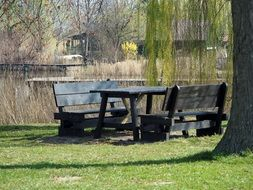 wooden table and benches for relaxing by the lake