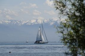 sailing boat floats on Lake Constance