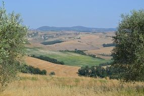 panorama of fields in tuscany