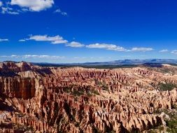 top view of red rock formations in Bryce Canyon National Park, usa, Utah