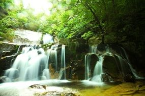 cascading waterfall in a forest in the republic of korea
