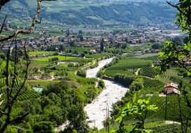 summer River Landscape in south tyrol