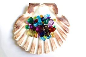 gemstones on the seashells