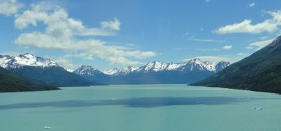 panorama of a picturesque lake in the mountains of argentina