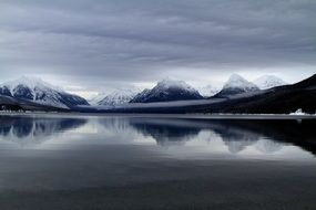 snowy mountains and lake mcdonald