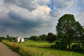 cloudy sky over countryside in the netherlands