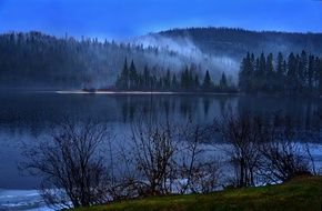 fog over a lake in canada