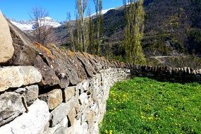 stone wall as a fence