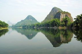 Landscape with Li River in Yangshuo in China