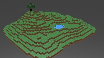 3d model of the island in minecraft