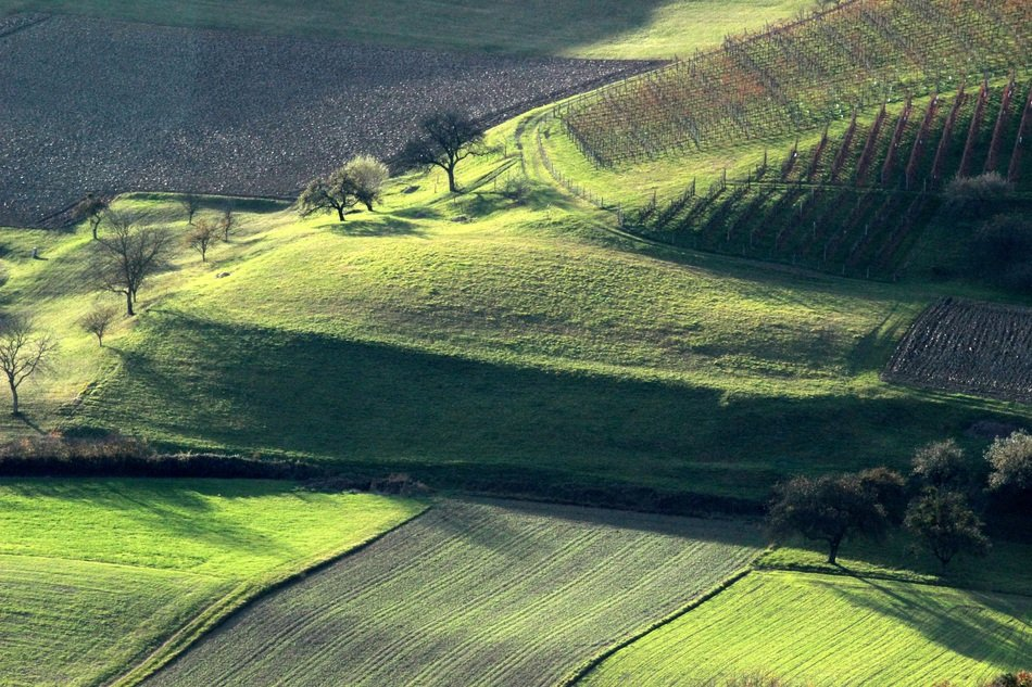 black and green fields on hills, scenic countryside at Autumn