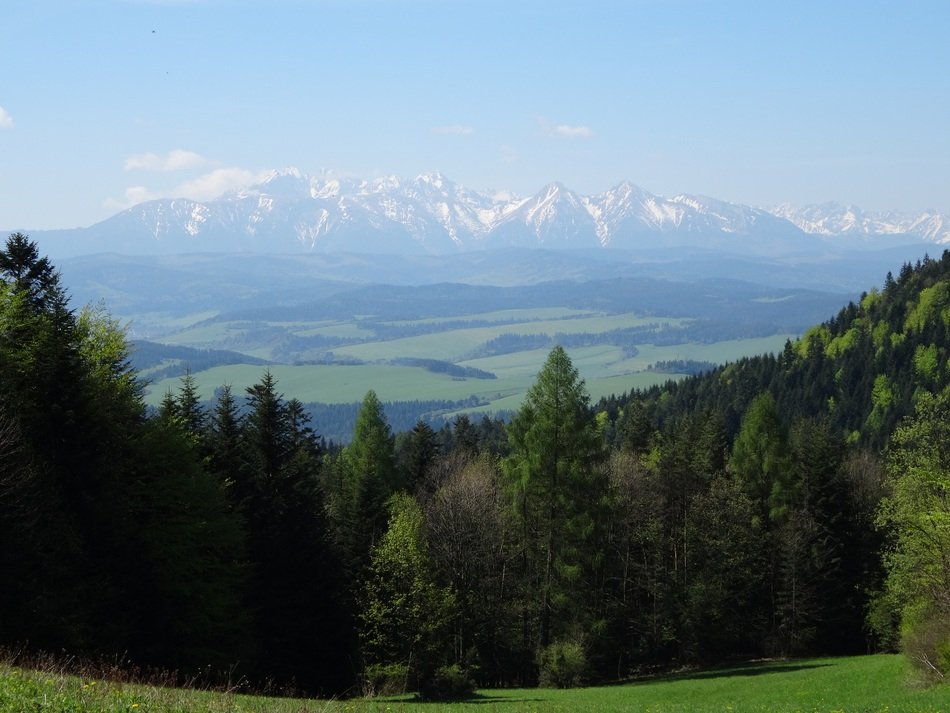 Panorama of the scenic Tatras on a sunny day