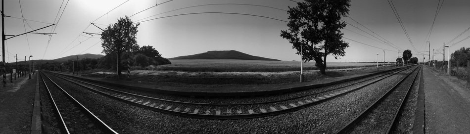 panoramic view of the railway in black and white image