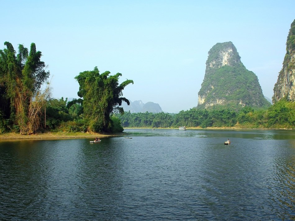 scenic rock formations at Li River, China, Yangshuo
